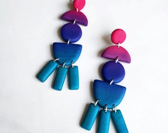 Limited Edition Ombre Dangle Earrings | Polymer Clay Long Statement Earrings | Minimal Drop Earring Pair | Ready to Ship || Garnet + Clay