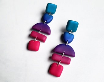 Limited Edition Ombre Dangle Earrings | Polymer Clay Statement Earrings | Minimal Drop Earring Pair | Ready to Ship || Garnet + Clay