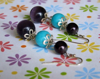 SALE - Cara Earrings - Bronze Flower Caps with Turquoise Teal Dark Purple Pearl Marbled Cats Eye Beads - Bella Mia Beads - READY to SHIP
