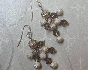SALE - Silver Swarovski Crystal Rhinestone Glitter Cluster Bling Dangling Earrings - Silver White Gray Grey Bella Mia Beads Ready to Ship