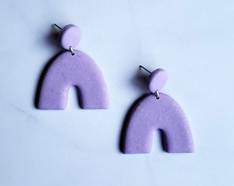 Limited Edition Lavender Shimmer Rainbow Earrings | Polymer Clay Dangles | Purple Minimal Arch Earrings | Ready to Ship || Garnet + Clay