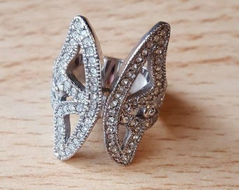 Silver and Rhinestone Crystal Butterfly Ring - Bella Mia Beads