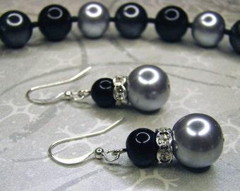SALE - Swarovski Pearl Cubic Zirconia Necklace and Earrings Set - Black Silver Rhinestone Crystal Bling - Bella Mia Beads - READY to SHIP