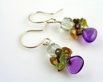 Silver Earrings with Precious Stones, Silver Jewelry, Earrings Handmade, Cluster Earrings, Gemstone Earrings,Amethyst Earrings, E598