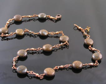 Bronzite and Swarovski Crystal Necklace, Wire Wrapped Jewelry, Wire Jewelry, Copper Necklace, Copper Jewelry, Choker Necklace, N330