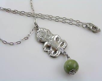 Tiki Necklace with Greenstone, Bowenite Gemstone, Greenstone Necklace, New Zealand Necklace, Maori Necklace, Maori Jewelry, N2116