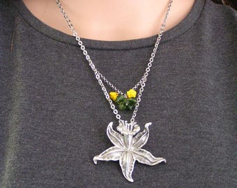 Daffodil Necklace, Daffodil Gifts, Narcissus Jewelry, Narcissus Necklace, Boho Necklace, Narcissus Flower Necklace, Boho Jewelry, N2117