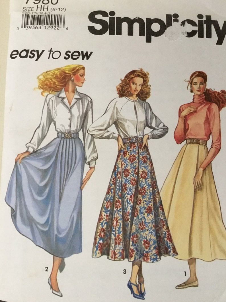 47274f4d787be Maxi Skirt Midi Skirt Pattern Simplicity 7980 Long Flared Skirt Pattern  Size 6-12 Uncut Easy to Sew Pattern Vintage '90's Free Shipping