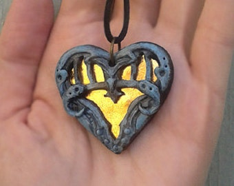 Heart Necklace Gothic Jewelry Steampunk Jewelry Heart Jewelry Heart Pendant Girlfriend Gift Wife Gift for Women Polymer Clay Jewellery Gift