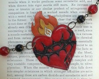 Flammenden Herzen Halskette Leder Kette rote Halskette Pin-up Halskette DOTD Halskette Tattoo Halskette Herz-Jesu Gothic Halskette Geschenk für Sie