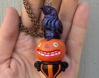 Rabe Halskette Halloween Anhänger Jack-o-Laterne Crow Schmuck Herbst Schmuck gotischen Jahrgang Halloween Kürbis Schmuck Herbst Geschenk für Sie