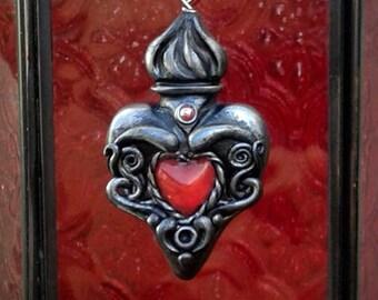 Herz Anhänger gotischen Ex Voto Polymer Clay viktorianischen Schmuck katholischen Rotguss Silber Geschenk für ihren Geburtstag Geschenk inspirierend Geschenk religiösen