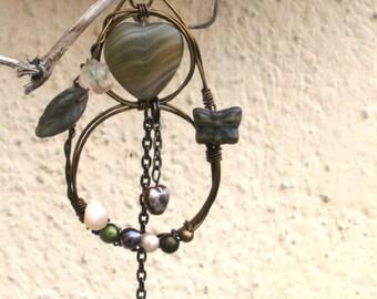 Natur Schmuck Natur Anhänger Tropfen Halskette Anhänger Geschenke unter 20 Geschenk für ihr Geschenk für Frau Elfenschmuck Draht umwickelt Schmuck Verkauf