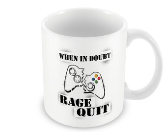 When In Doubt Rage Quit, Funny Coffee Mug, Gamer Gift, Gift for Him, Gift for Her, Gamer Girl Mug, Stencil Graffiti Art, Video Game Mug