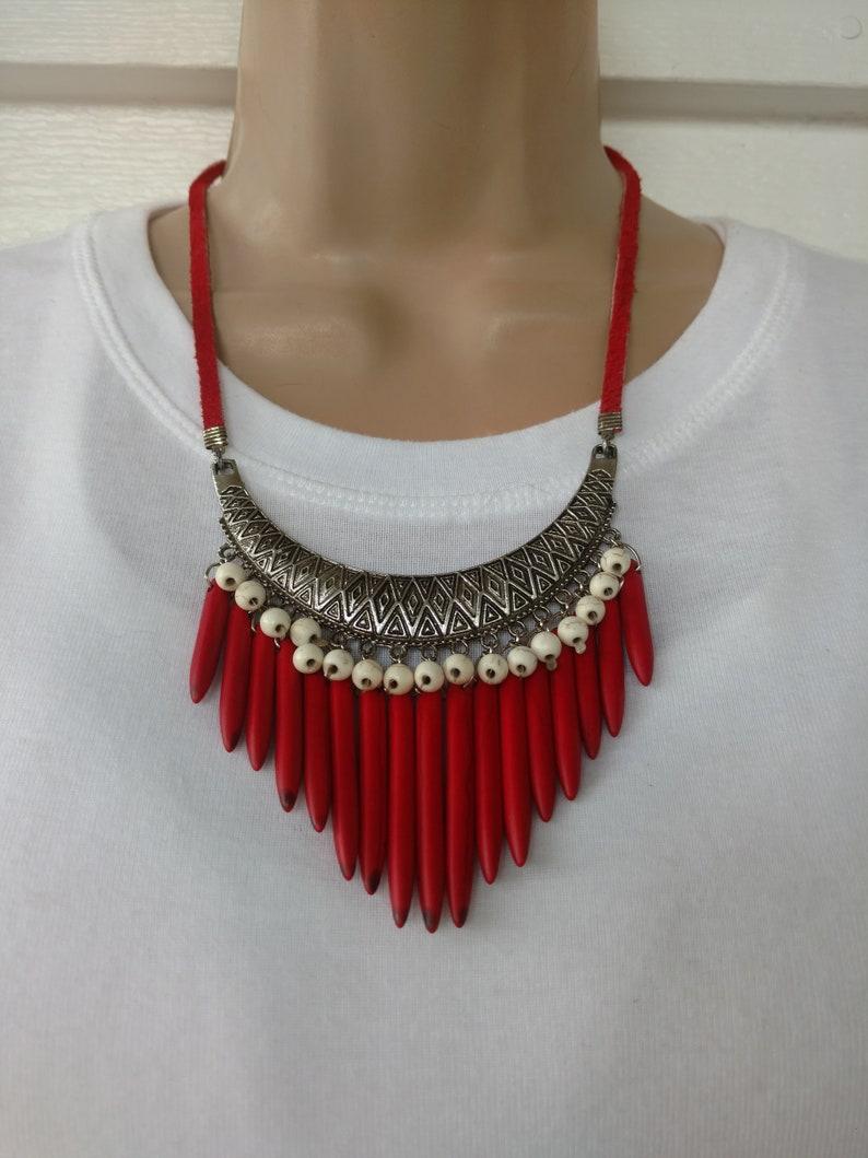 Boho Red Bib Necklace Turkish Bib Pendant Wood Dagger Bib White Howlite Red Leather Red and White TURKISH BAZAAR