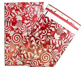 Spring Sale 25 Pack Tear Proof Candy Cane Design Plastic Poly Mailing Self Stick Closing Envelopes  6X9 Inches
