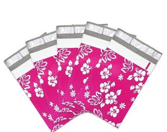 Spring Sale 25 Pack Tear Proof Hibiscus Aloha Design Plastic Poly Mailing Self Stick Closing Envelopes  6X9 Inches