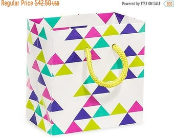 Spring Sale 50 Pack Retro Multicolor Recycled 4 x 2.5 x 4 inch Paper Handle Merchandise Bags