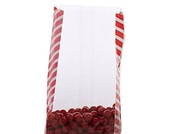 Spring Sale 20 Pack Red Side Stripe Clear View Poly Bags 3.5 X 2 X 7.5 Inch Size