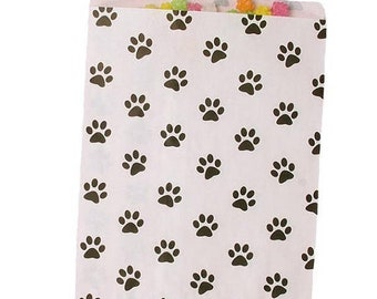 Spring Sale White and Black Paw Print Paper Merchandise Bags 2 sizes to choose from