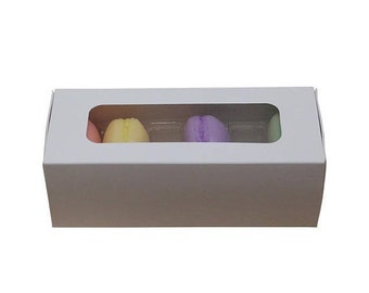 Spring Sale 5 Pc Pretty White Cut Out Window Front Macaron Boxes with Inserts 6 1/4 x 2 1/4 x 2 inches