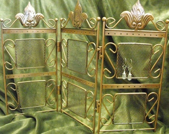 Multiple Screen Style Three Panel Copper Jewelry Retail Display Stand Great for Displaying Earrings