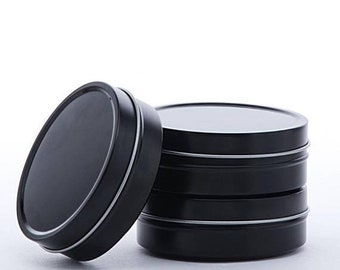 Spring Sale 6 Pack Black Shallow 2 Ounce Round Tins Great for candles, tinctures, salves, dry goods