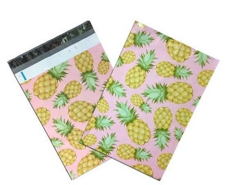 Spring Sale 25 Pack Tear Proof PIneapple Tropical Design Plastic Poly Mailing Self Stick Closing Envelopes  6X9 Inches