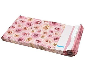 Spring Sale 25 Pack Tear Proof Rose Floral Design Plastic Poly Mailing Self Stick Closing Envelopes  6X9 Inches