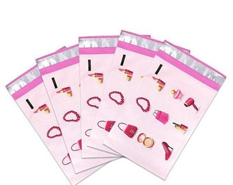 Spring Sale 25 Pack Tear Proof Make Up Design Plastic Poly Mailing Self Stick Closing Envelopes  6X9 Inches