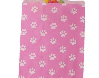 Spring Sale Pink and White Paw Print Paper Merchandise Bags 2 sizes to choose from