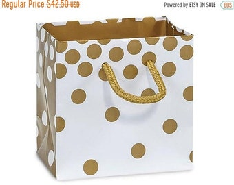 Spring Sale 50 Pack Gold Dots Recycled 4 x 2.5 x 4 inch Paper Handle Merchandise Bags