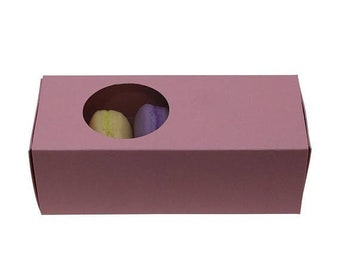 Spring Sale 5 Pc Pretty Pink Cut Out Circle Window Front Macaron Boxes with Inserts 6 1/4 x 2 1/4 x 2 inches