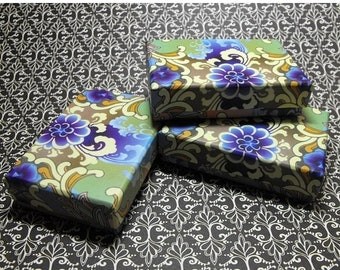 Spring Sale 10 Pack Blue and Purple Design Origami Style Floral Pattern 3.25X2.25X1 Inch Sized Cotton Filled Jewelry Presentation Boxes