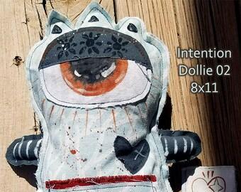 Intention Dollie 02 - one of kind original, outsider art, outsider folk, dolls, folk art dolls, purpose, handmade dolls, 8x11