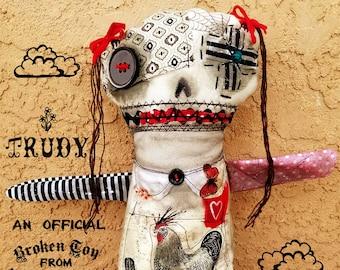 Trudy - one of kind original, outsider art, outsider folk, dolls, folk art dolls, rag dolls, dark art, handmade dolls, ugly dolls, 11x13.5