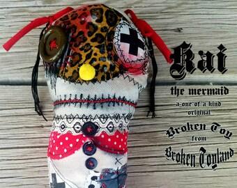 Kai 01 Broken Toy - one of kind original, outsider art, mermaid, dolls, folk art, rag dolls, dark art, handmade dolls, 5x12