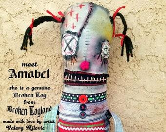 Amabel - one of kind original, outsider art, outsider folk, dolls, folk art dolls, rag dolls, dark art, handmade dolls, ugly dolls, 8x15.5