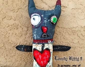 Lonely Kitty II - one of kind original, outsider art, outsider folk, dolls, folk art dolls, rag dolls, dark art, handmade dolls, 8x15