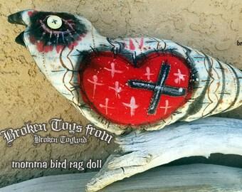 Momma Bird broken toy - one of kind original, outsider art, outsider folk, folk art dolls, rag dolls, dark art, handmade dolls, 4x10.5