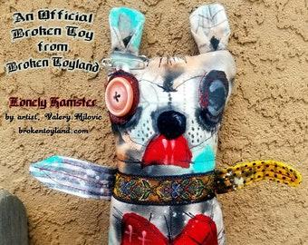 Lonely Hamster - one of kind original, outsider art, outsider folk, dolls, folk art dolls, rag dolls, dark art, handmade dolls, 8x10