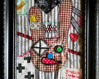 Bunny King - one of kind original, outsider, shabby, fabric art, textile art, sewn painting, abstract, punk, dark art, bunnies, Framed, 8x10