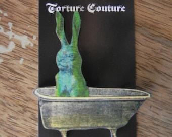 Bathtub Green Rabbit Bunny Wooden Pin Brooch Torture Couture Gothic Goth Lolita Halloween Horror Bathroom Dirty Bunnies