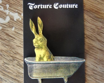 Bathtub Yellow Rabbit Bunny Wooden Pin Brooch Torture Couture Gothic Goth Lolita Halloween Horror Bathroom Dirty Bunnies