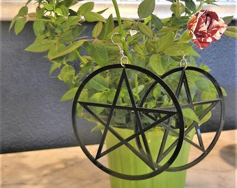 Large Pentacle Hoops Earrings Torture Couture Black Acrylic Stars Gothic Witch Wiccan Pagan Lolita Horror Goth Minimal Star