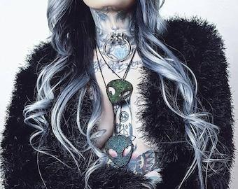 Large Alien Head Long Necklace Acrylic Laser Cut More Colors Space Festival Rave Horror Gothic Goth