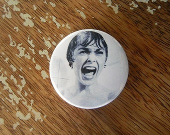 Psycho Scream Shower Button Torture Couture Horror Goth Gothic 90s brooch pins flair punk leather jacket egl Hitchcock
