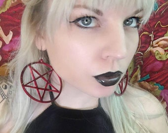Pentagram Acrylic Earrings Hoops Torture Couture villain gothic goth witch 666 ritual sabrina witchy lolita punk death rocker