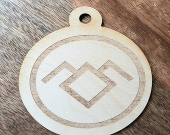 Birch Wood Ornament Twin Peaks inspired Reversible Damn Fine Cup of Coffee Engraved Wooden Christmas xmas holiday Circular Laser Cut