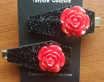 Red Rose Coffin Hair Clips